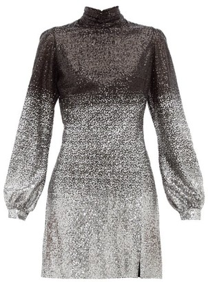 Raquel Diniz Elle Ombre-sequinned Balloon-sleeve Dress - Womens - Black Silver