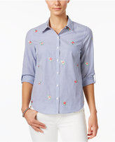 Charter Club Petite Cotton Striped Embroidered-Floral Shirt, Only at Macy's