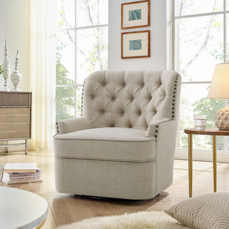 Alton Furniture Group Abby Button-Tufted Swivel Armchair, Beige