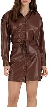 BB Dakota x Steve Madden Nelly Faux Leather Puff Sleeve Dress