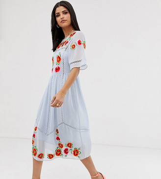 Asos Tall DESIGN Tall embroidered midi smock dress with ladder trims-Blue