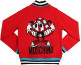 Moschino Flocked Cotton Sweatshirt Bomber Jacket