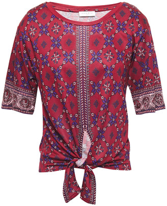 Sandro Knotted Printed Stretch-jersey Top