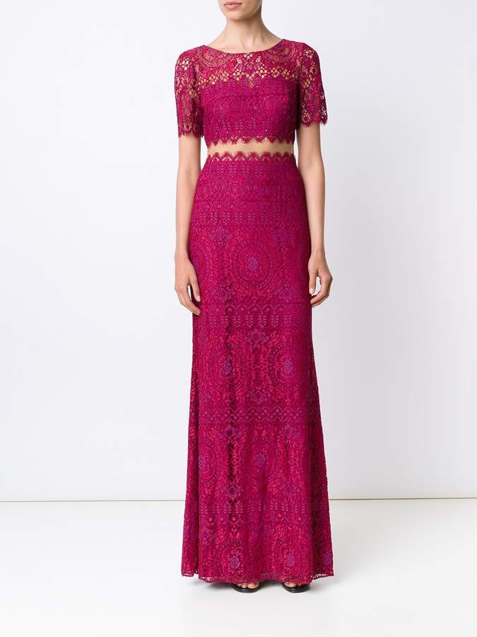 Marchesa lace floor length gown