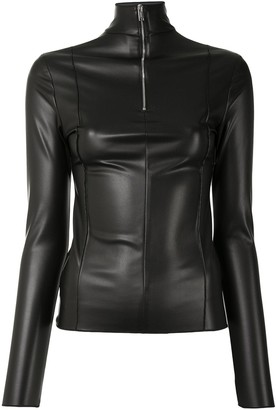 Peter Do Faux-Leather Turtleneck Top