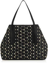 Jimmy Choo PIMLICO Black Leather Tote Bag with Multi Metallic Mix Stars
