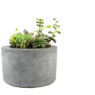 Rough Fusion Round Concrete Planter, Gray