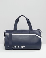 Lacoste Leather Look Holdall In Colour Block