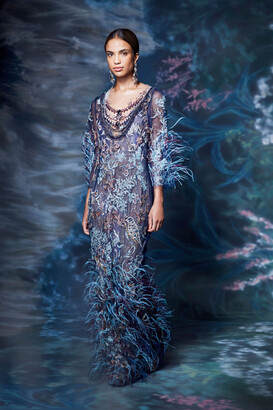 Marchesa Scoop Neck Feathered Sequined Gown