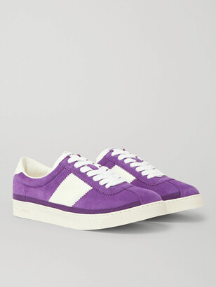 Tom Ford Bannister Leather-Trimmed Suede Sneakers - Men - Purple