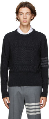 Thom Browne Grey Wool Aran Cable 4-Bar Crewneck Sweater
