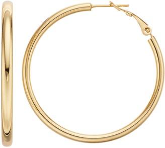 Primavera 24kt Gold Over Silver 40 mm Polished Hoop Earrings