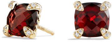 David Yurman 8mm Châtelaine Garnet Earrings with Diamonds