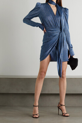 Lanvin - Tie-detailed Wrap-effect Lurex Mini Dress - Blue