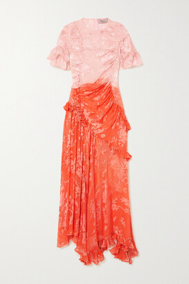 Preen by Thornton Bregazzi Etsu Asymmetric Ruffled Ombre Devore-satin Dress - Orange