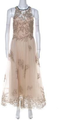 Monique Lhuillier Beige Tulle Sequin Embellished Evening Dress M