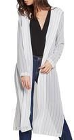 BCBGeneration Stripe Hooded Duster Cardigan