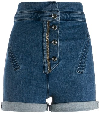 RtA Super High-Waisted Denim Shorts