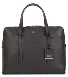 BOSS Tote-style briefcase in grainy Italian leather
