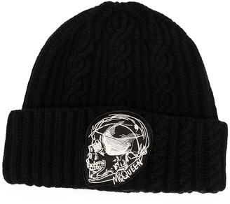 Alexander McQueen Embroidered Skull Beanie Hat