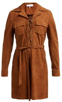 Frame Suede Shirtdress - Womens - Light Brown