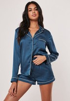 Missguided Blue Piping Detail Short Pajama Set