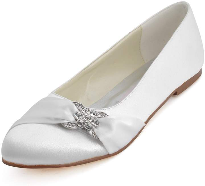 ElegantPark EP2006 Women Satin Rhinestones Flats Close Toe Wedding Party Shoes US 6.5
