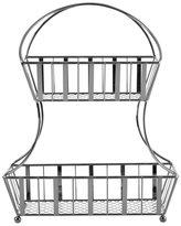 Mikasa Gourmet Basics Band and Stripe Silver Steel 2-tier Flatback Basket