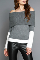 Do & Be Colorblocked Off Shoulder Sweater