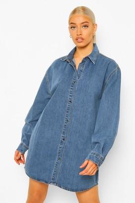 boohoo Oversized Denim Shirt Dress