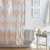 The Emily & Meritt Harlequin Pintuck Shower Curtain, Pink Cloud
