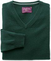 Charles Tyrwhitt Green Cashmere V-Neck Jumper Size Medium
