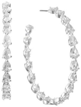 Trifari Silver-Plated Cubic Zirconia Hoop Earrings