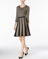 Nine West Metallic Fit & Flare Sweater Dress