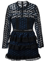 Self-Portrait star lace panelled dress - women - Polyester/Spandex/Elastane - 12