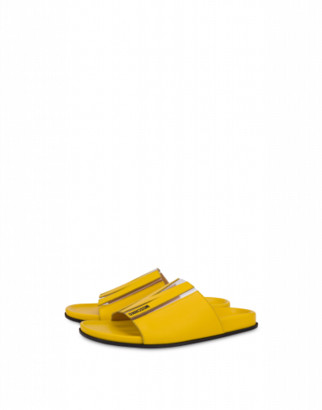 Moschino M Flat Sandals Woman Yellow Size 36 It - (6 Us)