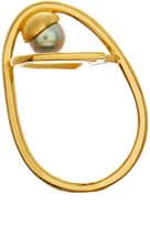 LeiVanKash Ayn 22K Yellow Gold-Plated Petrol Grey Pearl Ring