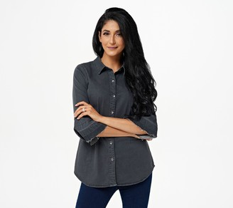 Belle By Kim Gravel Stretch Denim Blouse with Release Sleeve