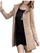Friendshop Women Winter Casual Lapel Buttons Pockets Long Coat L