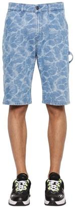 MSGM Bleached Cotton Denim Shorts