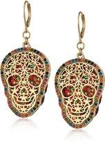 Betsey Johnson Halloween Double Skull Drop Earrings