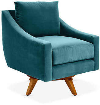One Kings Lane Nash Swivel Club Chair - Peacock Crypton