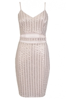 Quiz Blush Pink And Gold Glitter Cut Out Bodycon Dress