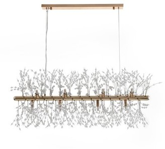 Everly Quinn Eure 12 - Light Unique Modern Linear Chandelier with Beaded Accents Finish: Gold