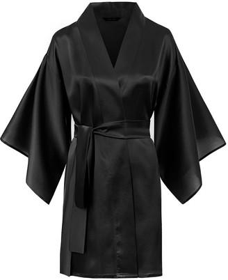 Moye Silk Robe Kimono Style - Black