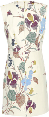 Diane von Furstenberg Floral-print Leather Mini Dress