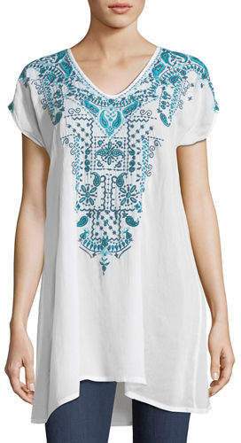 Johnny Was Eros V-Neck Embroidered Tunic, Plus Size