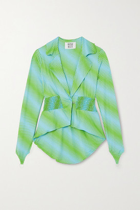 MAISIE WILEN Shirred Printed Stretch-jersey Blazer - Green