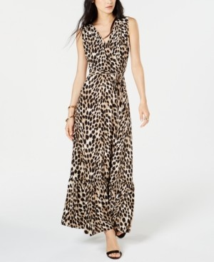INC International Concepts Inc Leopard-Print Faux-Wrap Maxi Dress, Created for Macy's