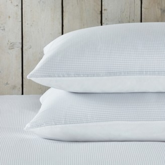 The White Company Portobello Gingham Classic Pillowcase - Single, White Blue, Super King